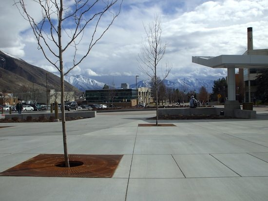 New patio in front of BYU Wilkinson Center where a street used to be