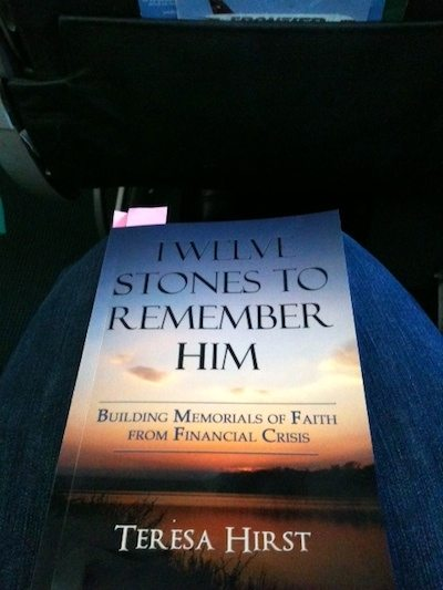 Reading Twelve Stones to Remember Him on the airplane
